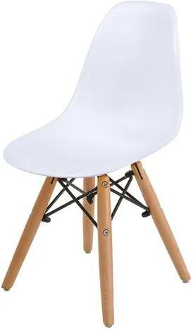 Cadeira INFANTIL Eames Polipropileno Branca com Base Madeira - 40604 Sun House