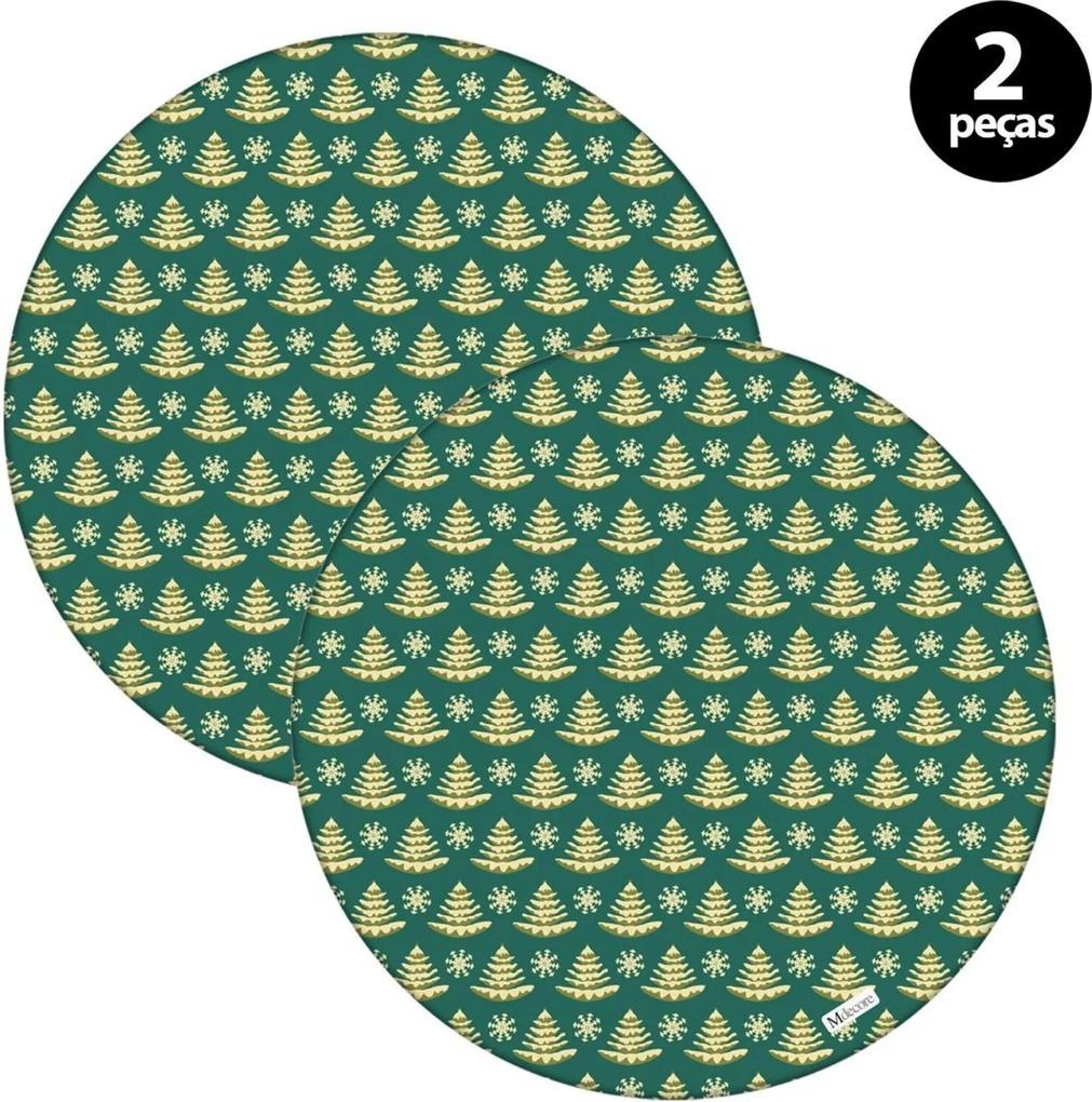 Sousplat Mdecore Natal Pinheiros 32x32cm Verde 2pçs