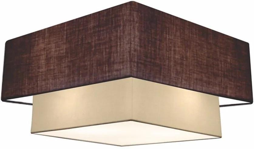 Plafon Duplo Quadrado Md-3018 Cúpula em Tecido 25/70x50cm Café / Bege - Bivolt