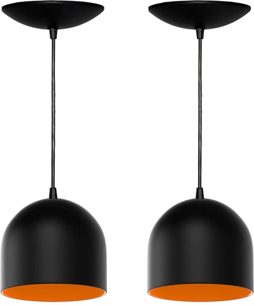 Kit 2 Pendentes Bullet (preto Textura / Laranja)