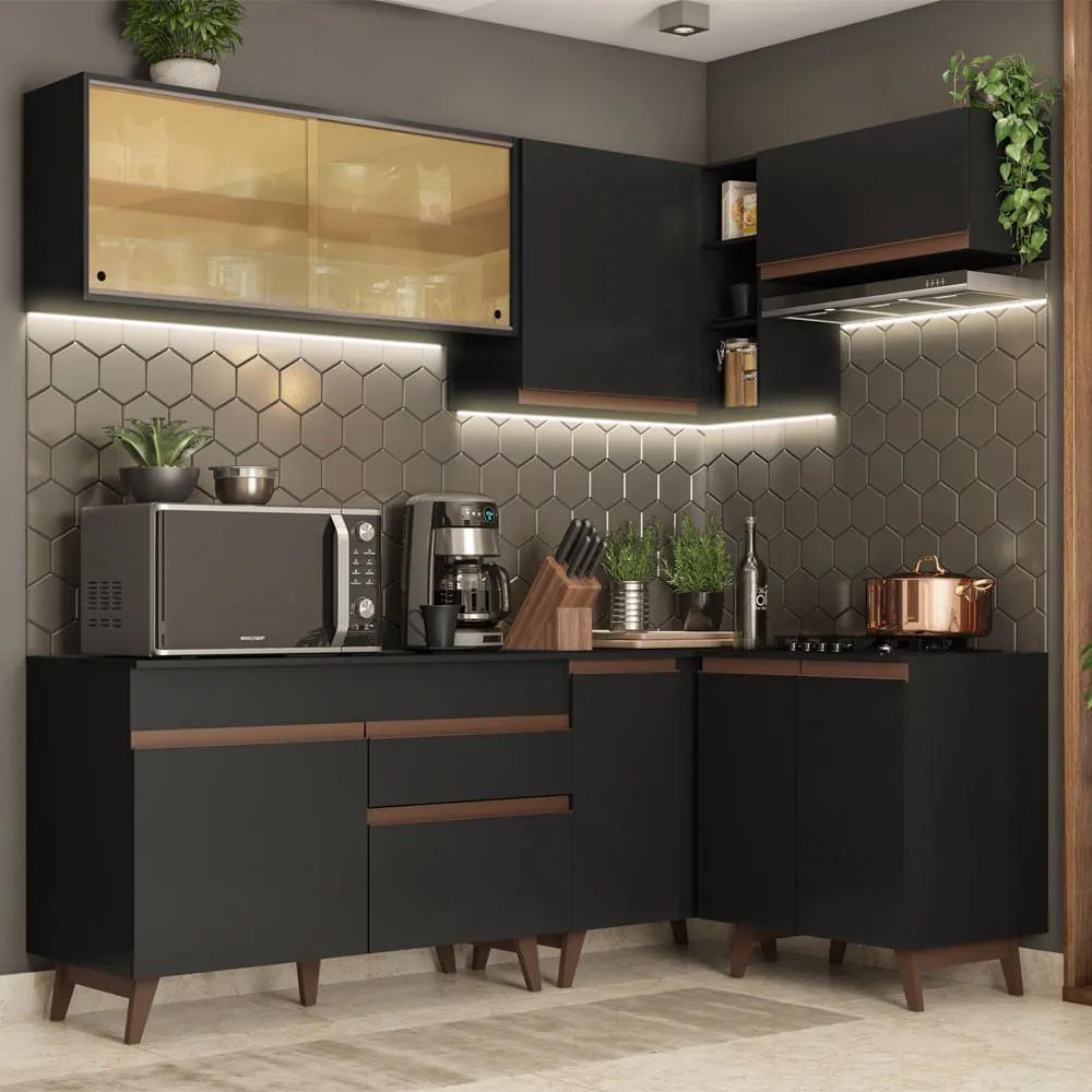 Cozinha Completa de Canto Madesa Reims 332002 com Armário e Balcão Preto Cor:Preto