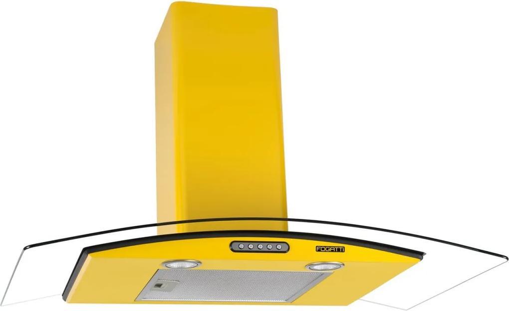Coifa de Parede Vidro Curvo Duto Slim 90 cm Amarelo 220v - Fogatti