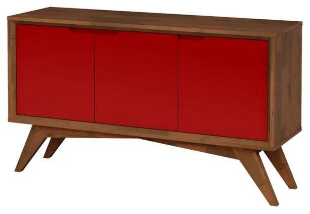 Buffet Serafim 3 Portas Pinhão e Vermelho - Wood Prime MP 27630