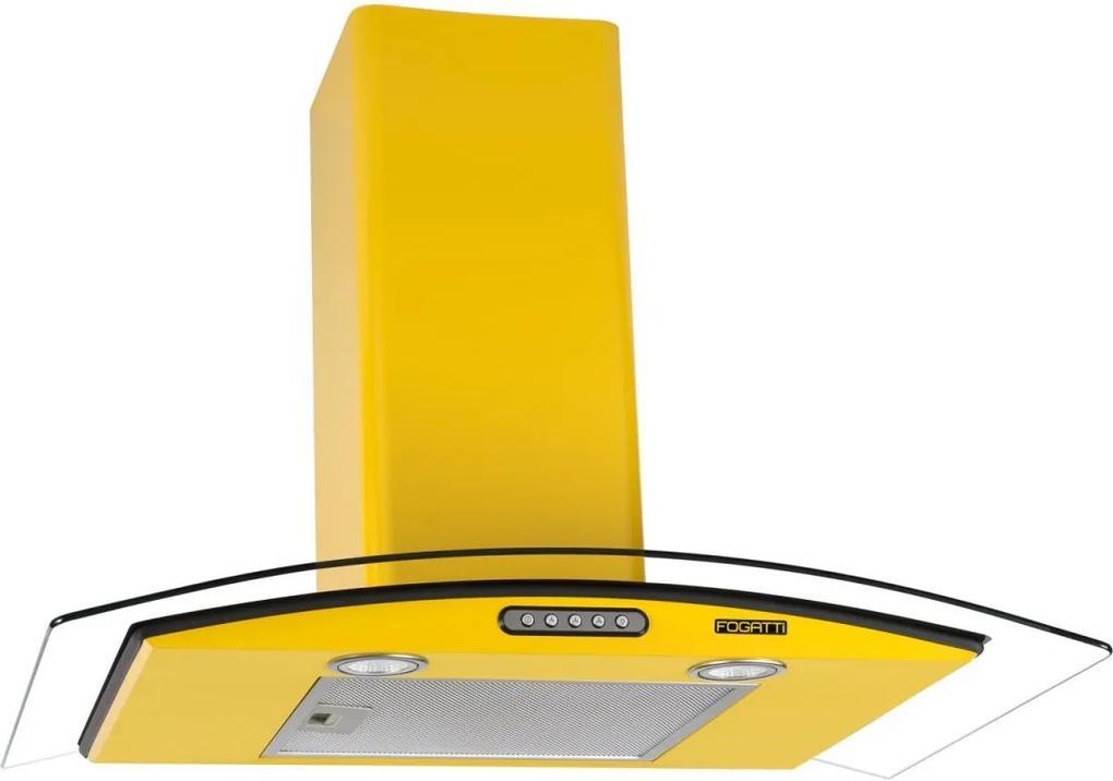 Coifa de Parede Vidro Curvo Duto Slim 75 cm Amarelo 220v - Fogatti