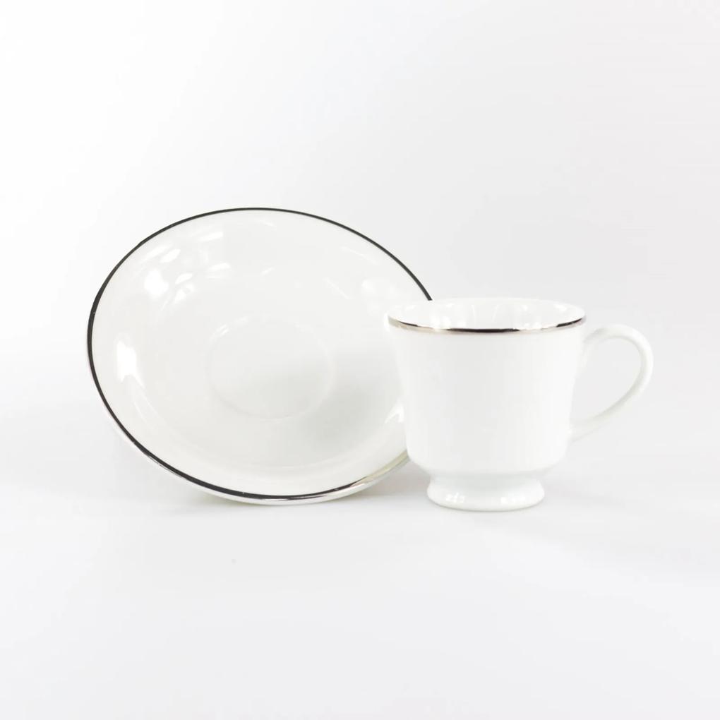 Xícara Café com Pires 80 ml Porcelana Schmidt - Dec. Filetado Prata Itamaraty