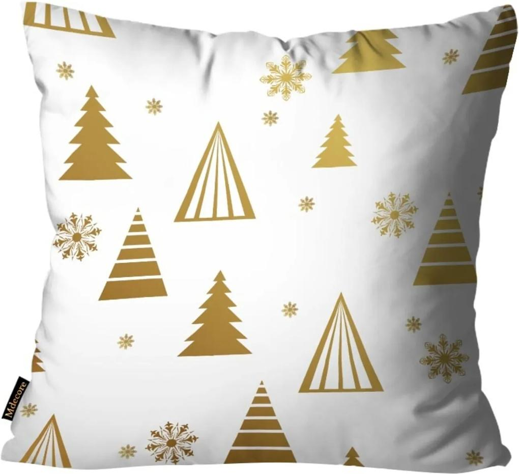 Capas para Almofada Premium Cetim Mdecore Natal Arvore de Natal Branca 45x45cm