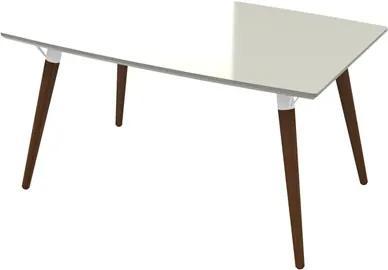 Mesa de Jantar 4 Lugares 140cm Valentinna Off White/Pés Escuros - Artesano