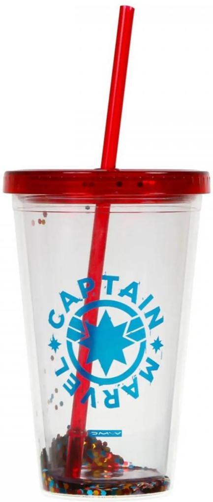 Copo c/ Canudo (Tritan) Glitter - Capitã Marvel