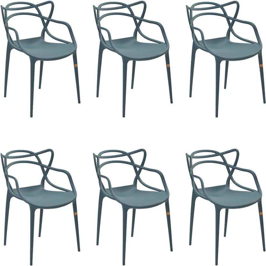 Kit 6 Cadeiras Decorativas Sala e Cozinha Feliti (PP) Verde Petróleo - Gran Belo