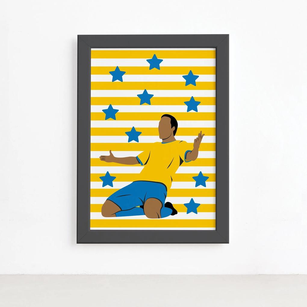Quadro Infantil Futebol Gol Jogador Amarelo 22x32 Moldura Preta