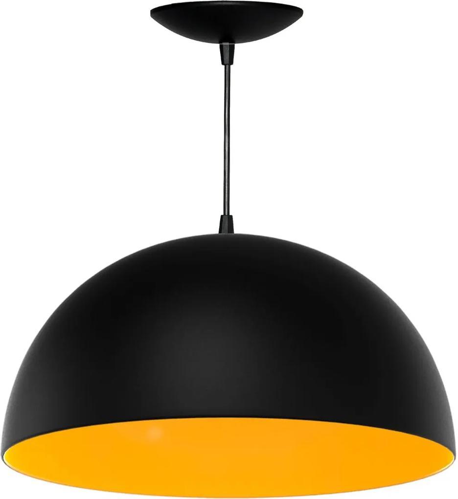 Pendente Meia Esfera de 40 Cm (preto Textura / Amarelo)