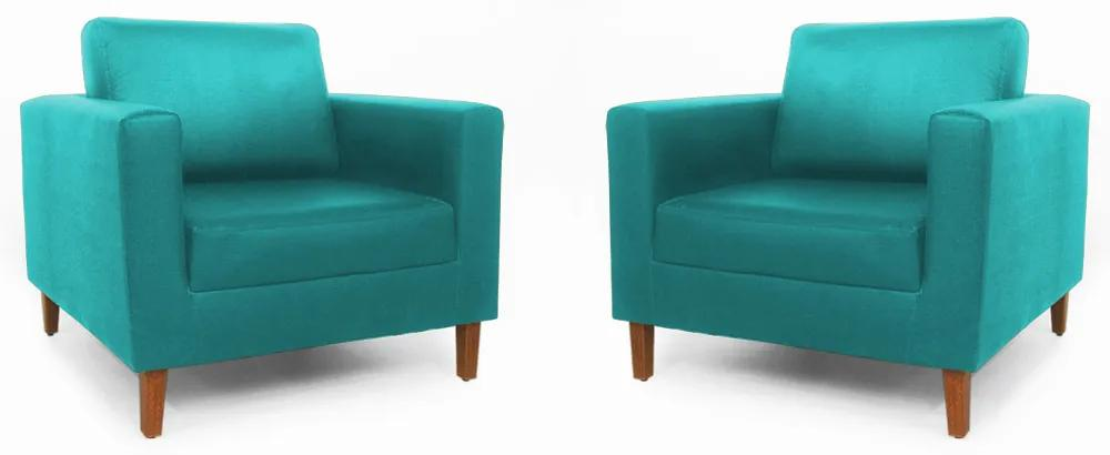 Conjunto 2 Poltrona Decorativa Gabriela Suede Azul Tiffany