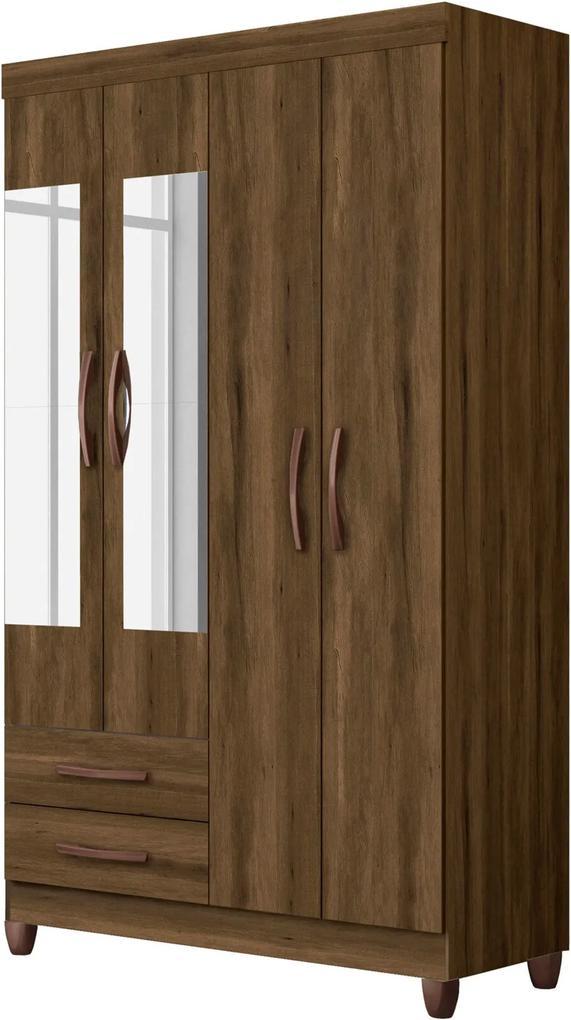 Guarda-Roupa Âmbar c/Espelho 4 Pts e 2 Gav Cedro Albatroz Marrom