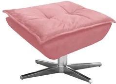 Puff Decorativo Sala de Estar Base Giratória Cromada Opla Suede Rose -