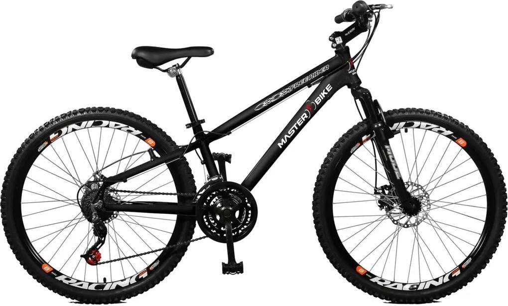 Bicicleta Master Bike Aro 26 masculina Free Rider F/disco A-36 21 marchas Preto
