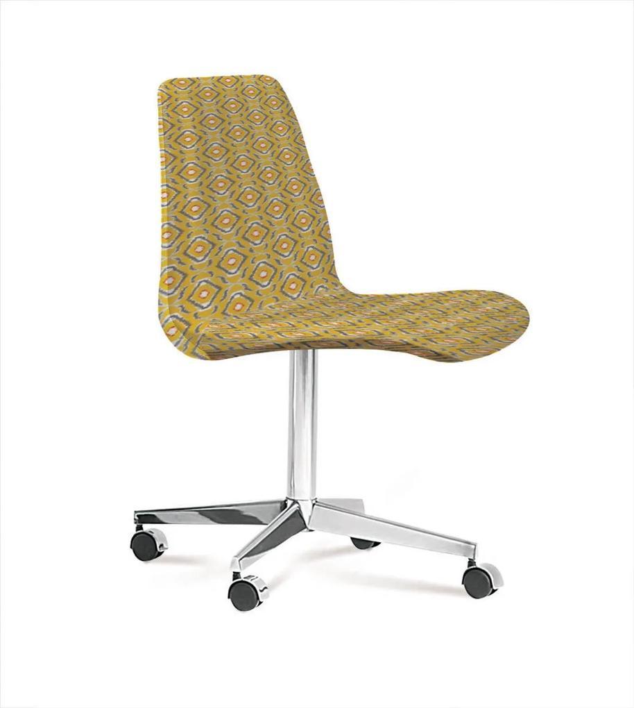 Cadeira Eames Base Cromada Com Rodizio Daf Amarelo/Cinza