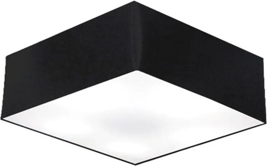 Plafon Quadrado Md-3002 Cúpula em Tecido 15/50x50cm Preto - Bivolt