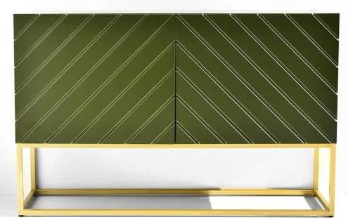 Buffet Alfredo Verde Musgo Base Dourada 120cm - 60706 Sun House