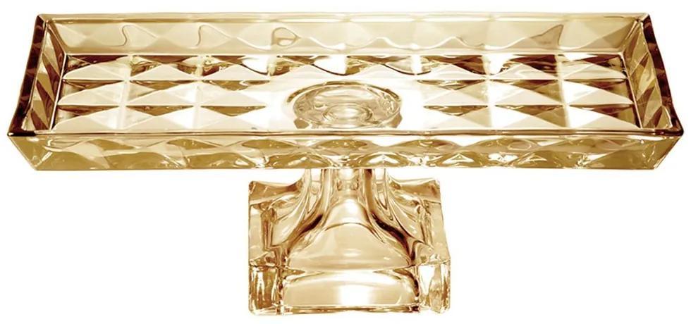 Centro De Mesa Cristal Com Pé Diamant Ambar 35x17,5x12,5 Cm 26053 Wolff