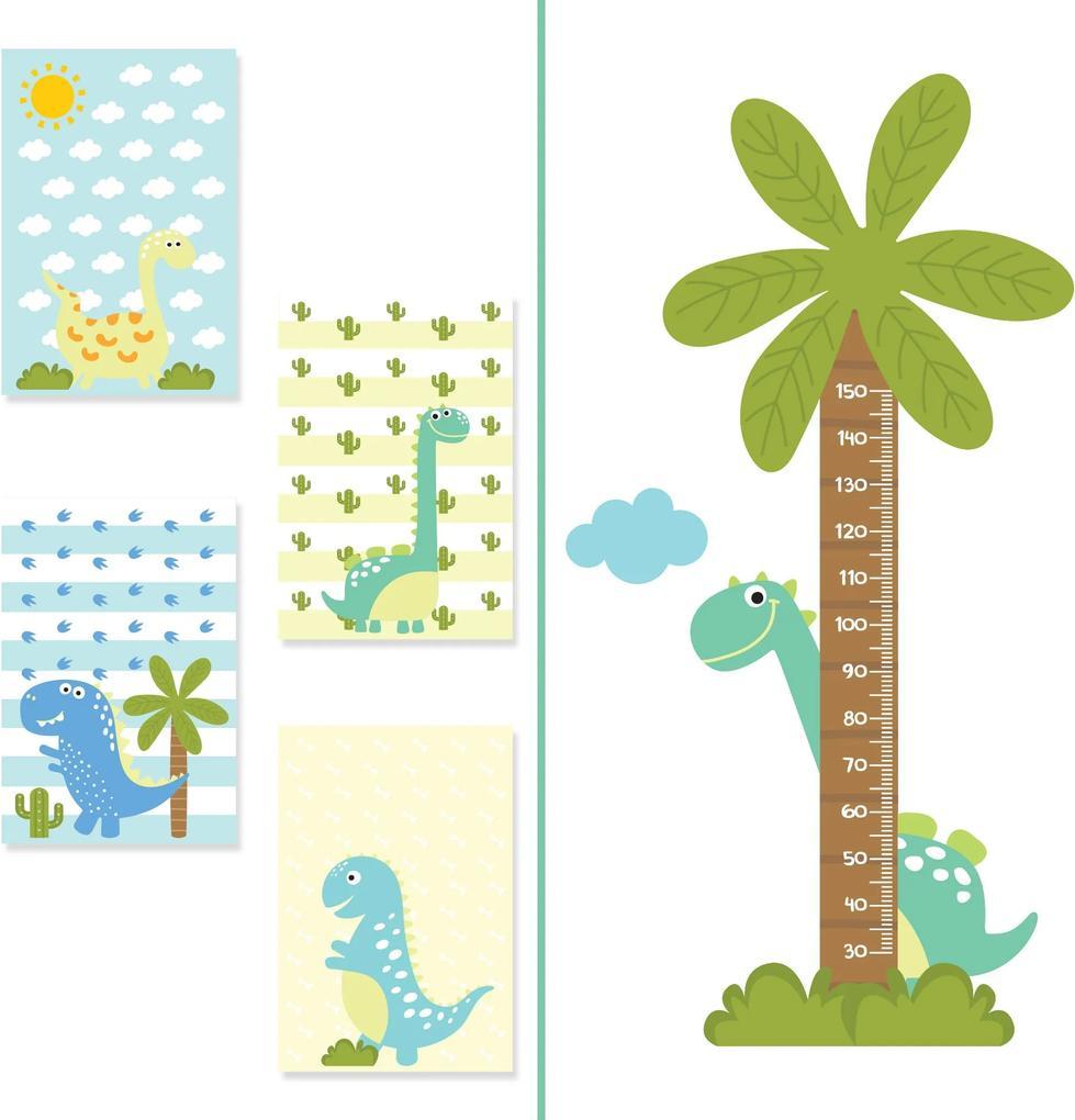 Kit Placas Decorativas Dinossauro Baby e Adesivo de Parede Régua