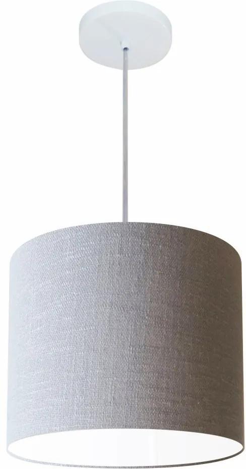 Lustre Pendente Cilíndrico Md-4113 Cúpula em Tecido 30x25cm Rustico Cinza - Bivolt