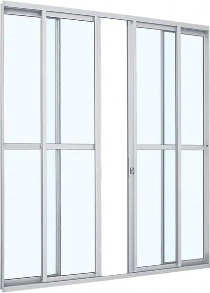 Porta de Alumínio de Correr Alumifit Branca com Divisão Central 4 Folhas 216x200x7 - Sasazaki - Sasazaki