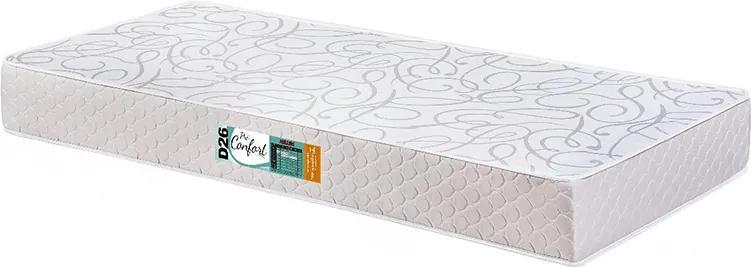 Colchão De Solteiro Pró Confort D26 Cinza E Branco Liso 78x188x14 Hellen