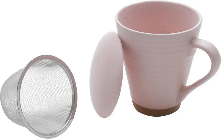 Caneca Cerâmica Com Infusor Romance Rosa 10x8cm 300ml 35381 Bon Gourmet