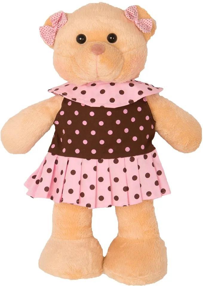 Ursa Soft Grande em Pé Vestido Bolinhas Rosa e Marrom Laço
