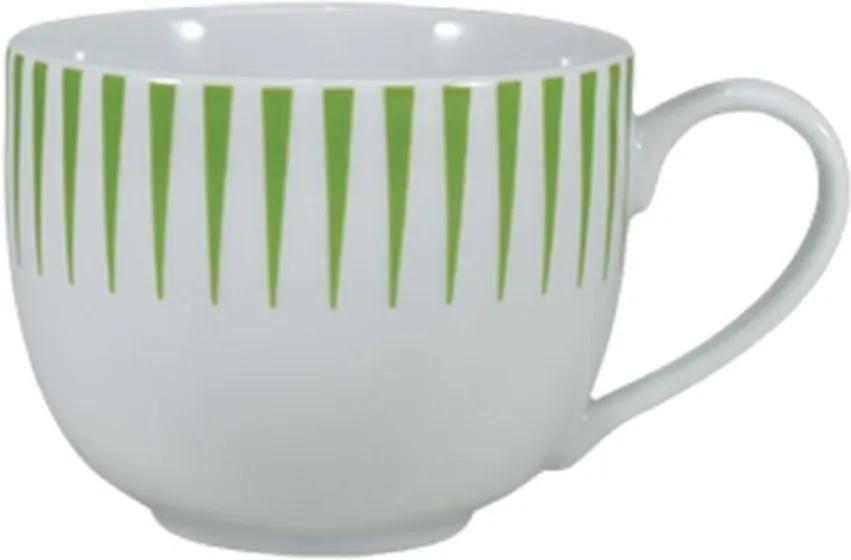 Xícara Chá com Pires 200 ml Porcelana Schmidt - Dec. Sol Verde