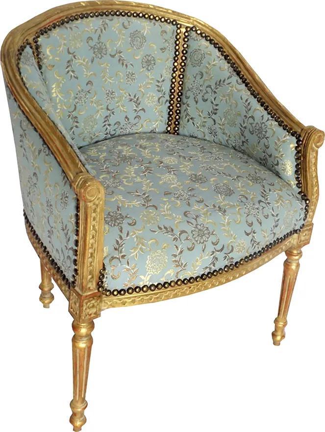 Poltrona Clássica Luis XVI Azul Folheada a Ouro