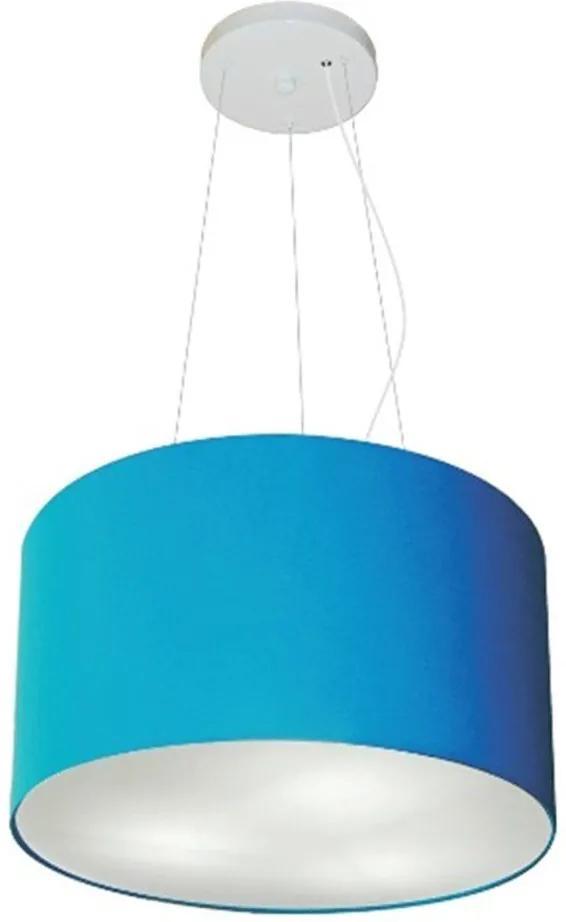 Lustre Pendente Cilíndrico Md-4009 Cúpula em Tecido 40x21cm Azul Turquesa - Bivolt