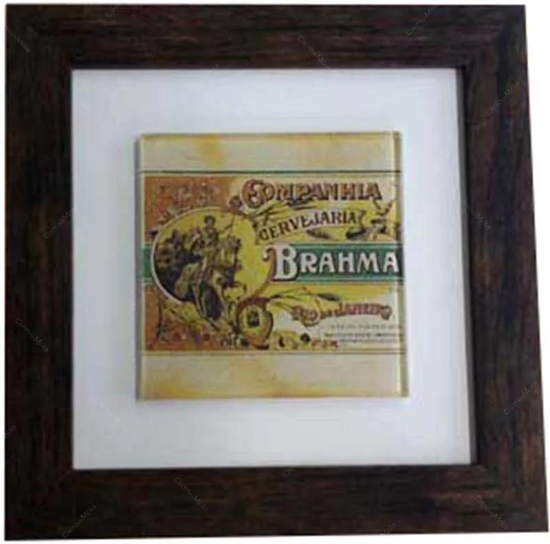 Quadro de Vidro Decorativo Brahma Cervejaria Moldura em Madeira