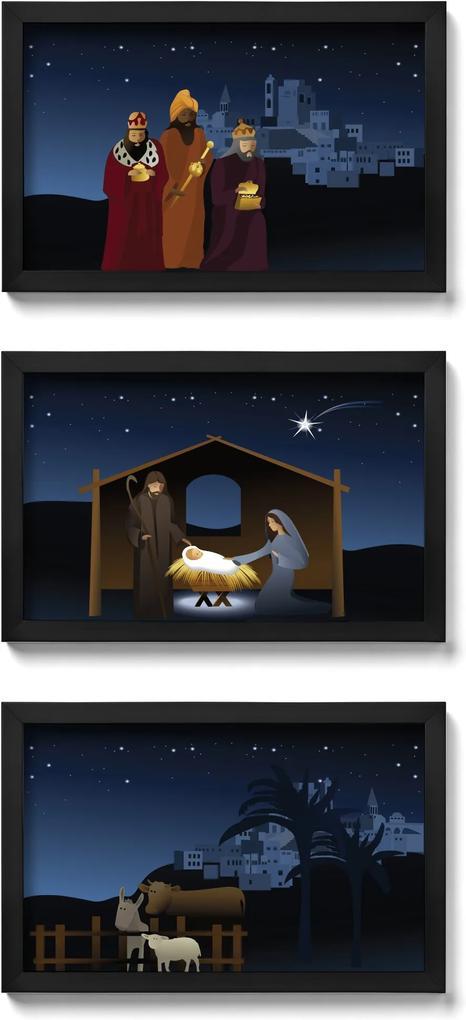 Presépio de Parede Quadro Natalino Noite de Natal - kit com 3 quadros