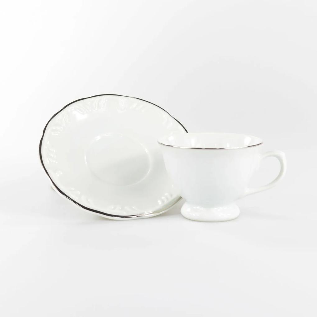 Xícara Café com Pires 80 ml Porcelana Schmidt - Dec. Filetado Prata Pomerode