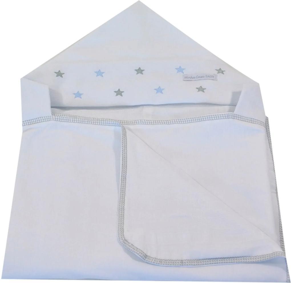 Toalha de Banho em Malha com Capuz Forrada em Fralda Minha Casa Baby TBC2051/4 Estrela Cinza/Azul.,