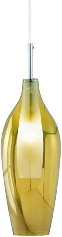 Pendente Mart Vidro Translucido Dourado E Interior Em Vidro Branco