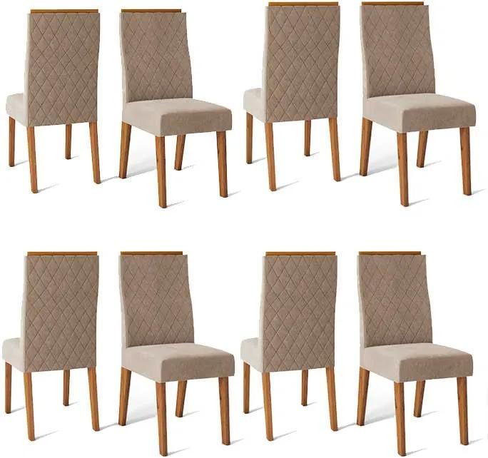 Conjunto 8 Cadeiras Cássia Rústico Terrara Tecido Veludo Kraft