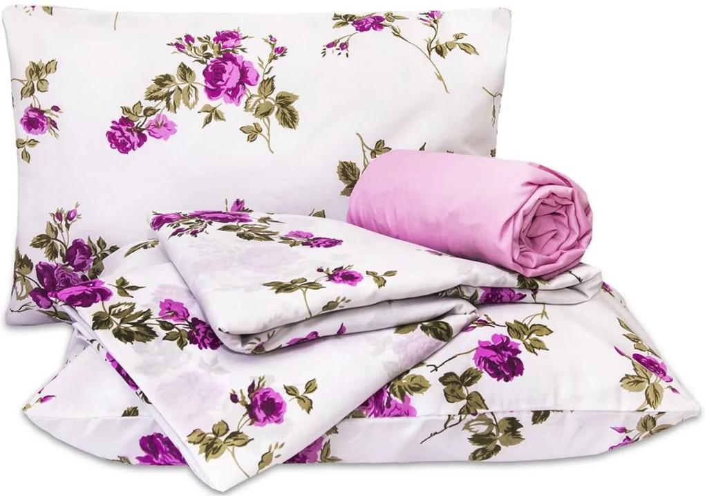 Jogo de Cama Standard Flores Pink Casal Padrão 160 Fios 04 Peças DOURADOS ENXOVAIS