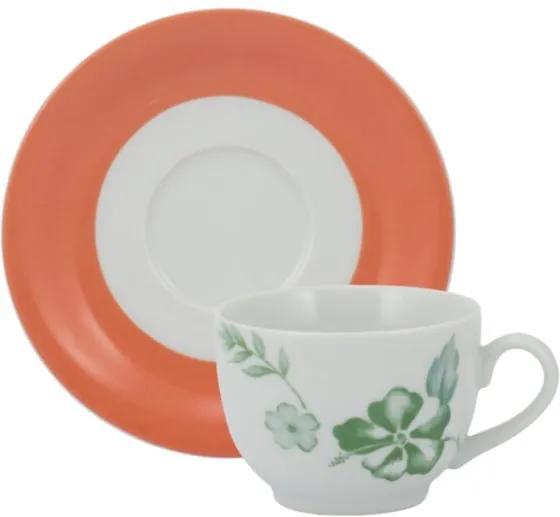 Xícara Chá com Pires 200 ml Porcelana Schmidt - Dec. Alessandra