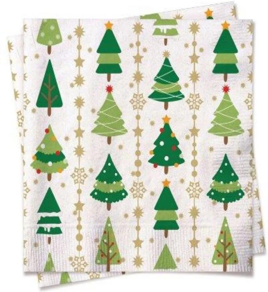 Guardanapo Natalino Papel Arvores De Natal 32,5Cm Kit Com 20