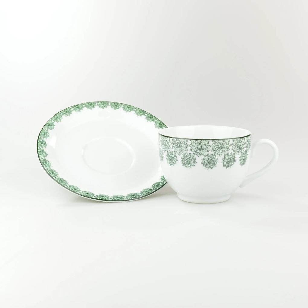 Conjunto de Xícaras para Chá c/ Pires Porcelana Schmidt 06 Peças - Dec. Taís