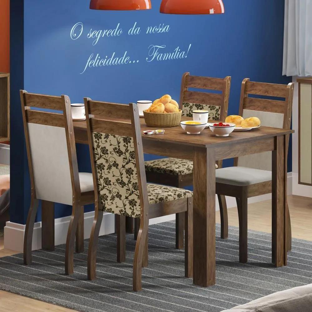 Mesa de Jantar 4 Lugares Leila Marrom Tecido Suede Perola/Floral - Madesa