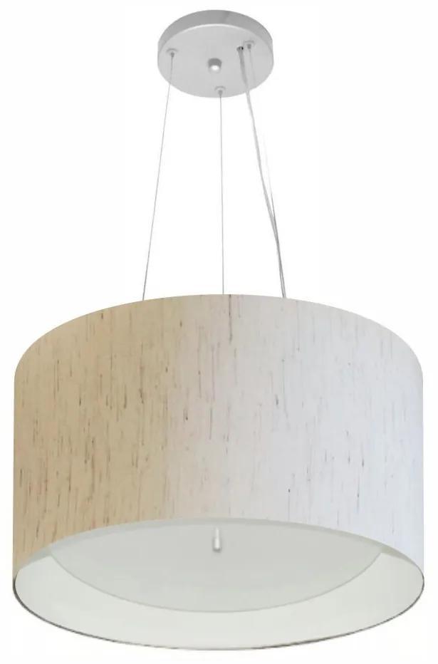 Lustre Pendente Cilíndrico Md-4319 Cúpula Forrada em Tecido 40x25cm Linho Bege / Branco - Bivolt
