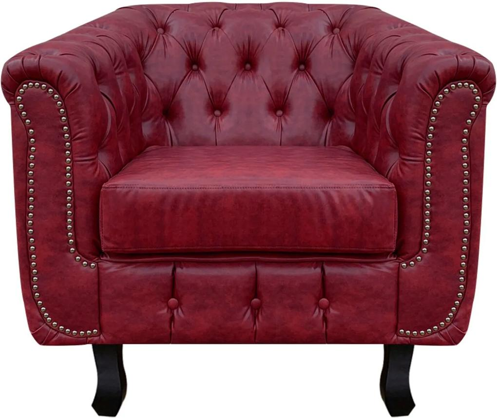 Poltrona Chesterfield Couro Vermelho  D'Rossi