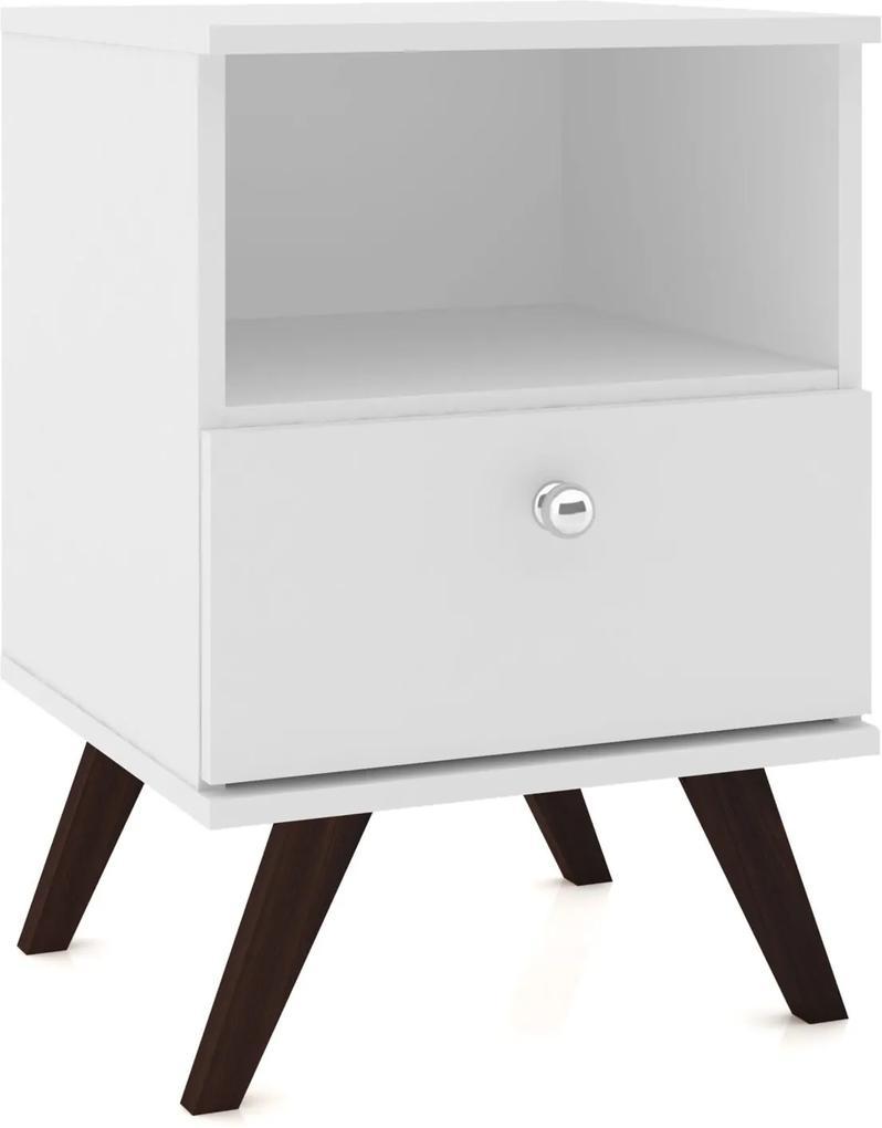Mesa de Cabeceira C/1 Gaveta Móvel Bento Branco