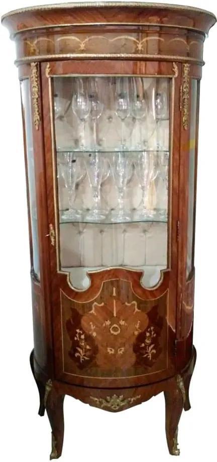 Cristaleira Clássica Marchetada com Detalhes em Bronze - 176x78,5x45,5cm