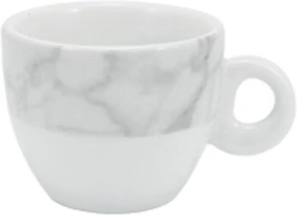 Xícara Café com Pires 80 ml Porcelana Schmidt - Dec. Mármore Cinza