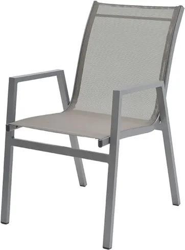 Cadeira Enseada com Bracos Tela Cinza Base Cinza - 38738 Sun House