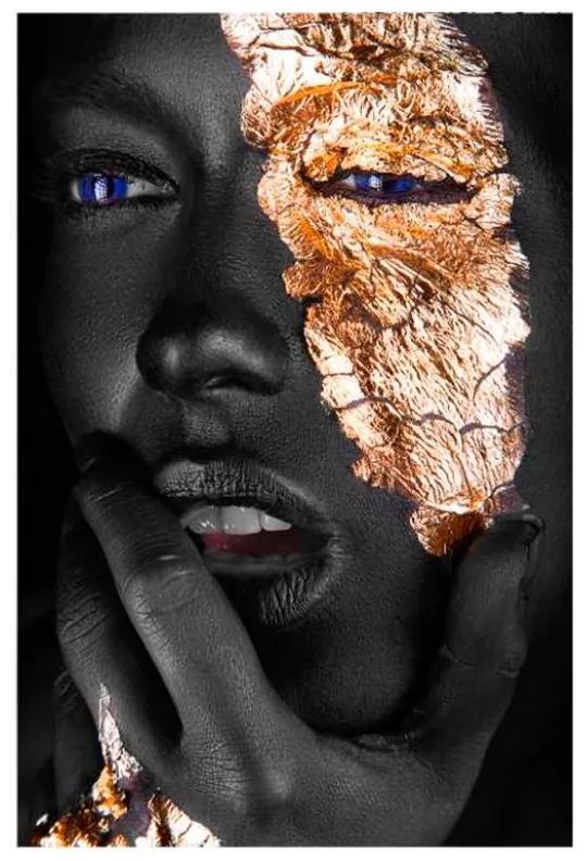 Quadro Decorativo Mulher Negra Dourado 2 - KF 48531 40x60 (Moldura 520)